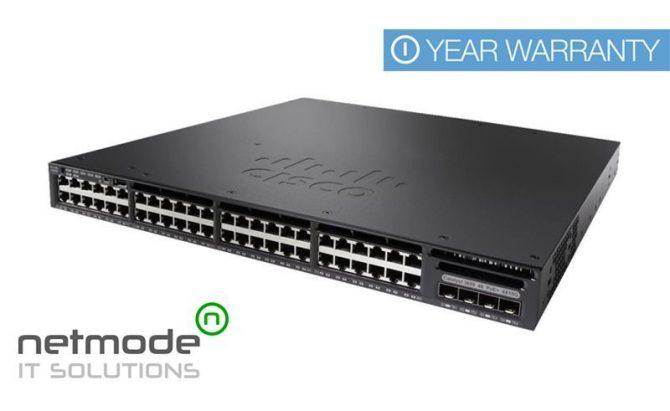 NEW Cisco WS-C3650-48FS-S Gigabit Switch 48 Port PoE+ IP Base AC PWR 4x1G SFP